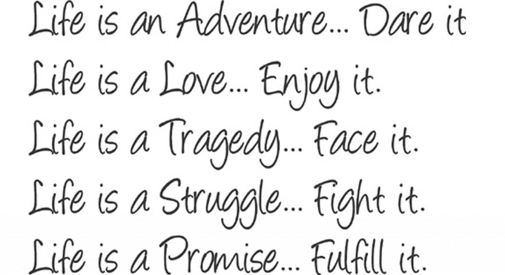 enjoy life adventure love tragedy struggle fullfill